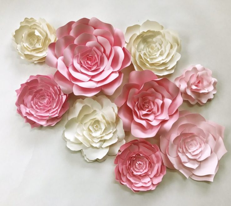 Remarkable Flower Wall Decorations Of Paper Art For In Pink And Ivory,