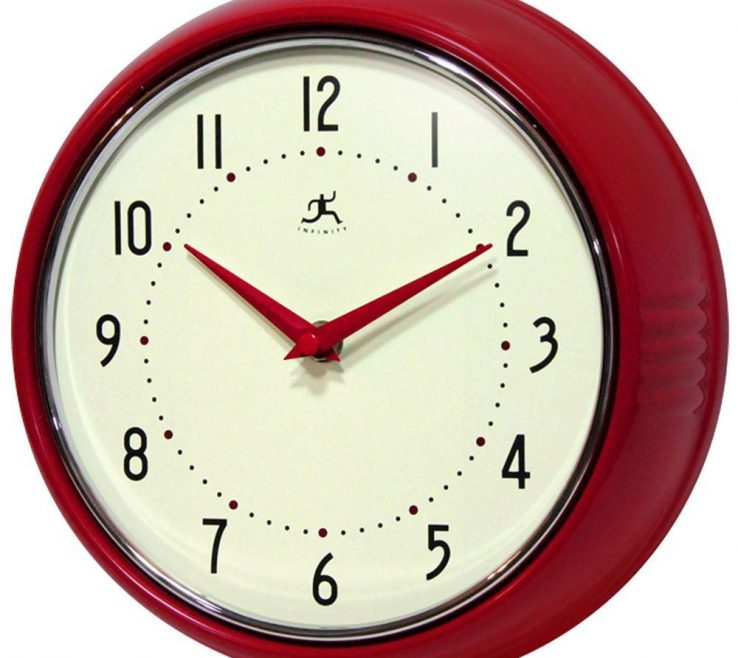 Remarkable Wall Clocks For Kitchens Of Red Retro Round Metal Clock