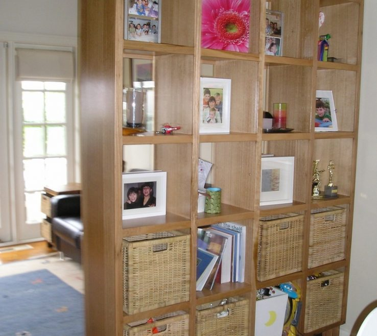 Room Dividers Of L Shaped White Wooden Bookcase Divider
