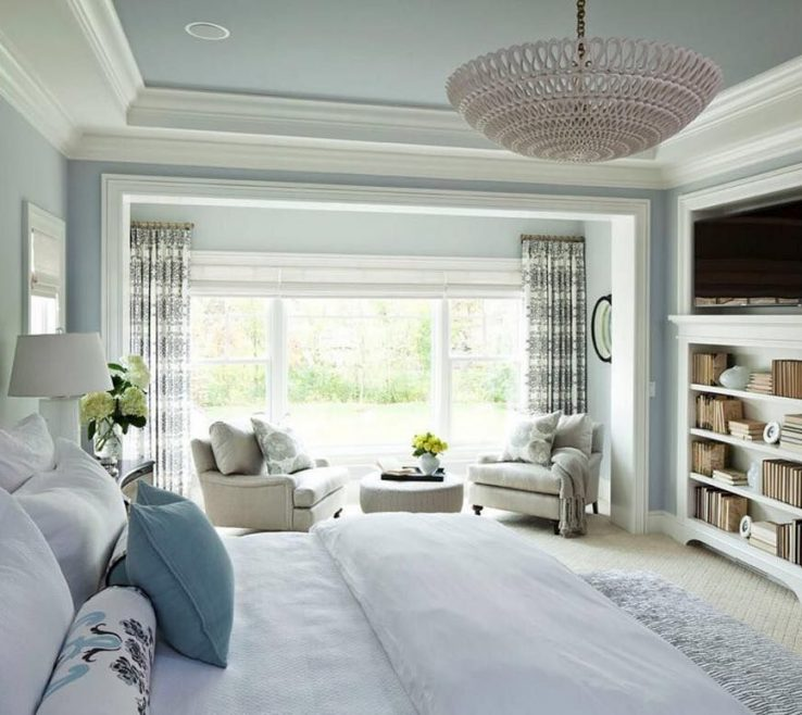 Small Seating Area Of This Tranquil Master Bedroom Suite Includes A