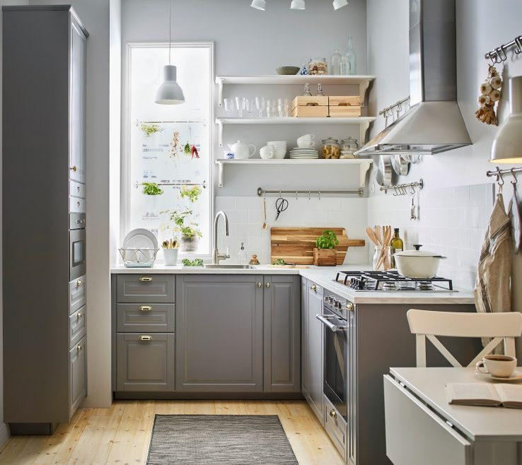 Small White Kitchens Of A Sized, Traditional Style Grey And Kitchen