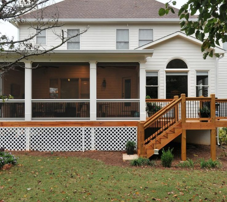 Sophisticated Outdoor Stairs Ideas Of Traditional Screened Porch And Deck