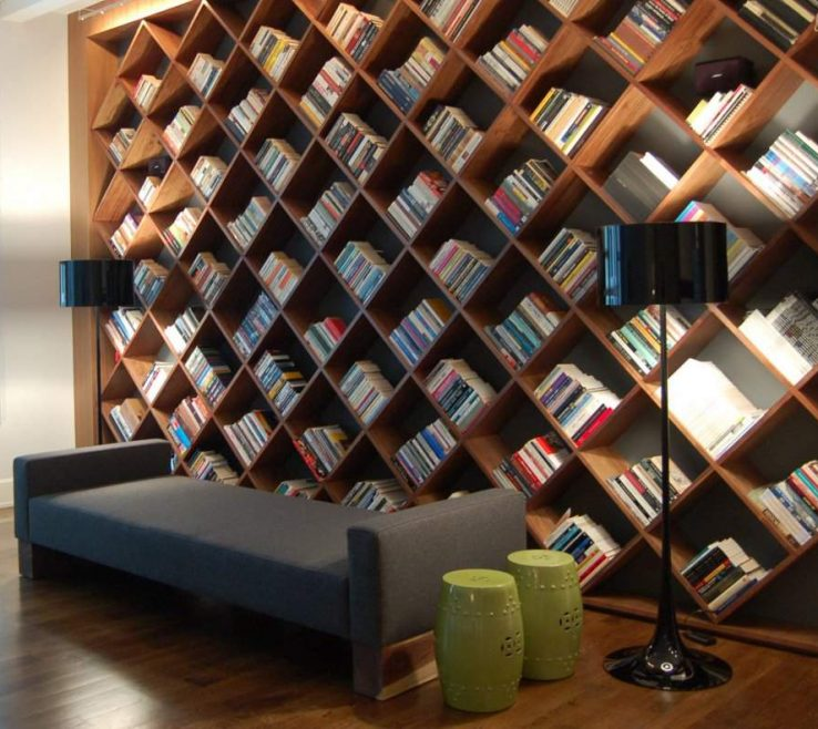 Superbealing Bookshelves Library Style Of Great Diagonal Bookshelf Design Idea For Home