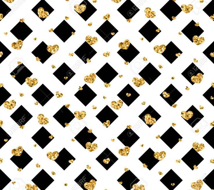 Superbealing Geometric Decoration Of Black White Decoration Golden Confetti Hearts