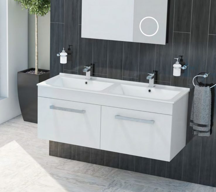 Superbealing Modern Bathroom Walls Of Duo Double Basin Wall Hung Vanity Unit