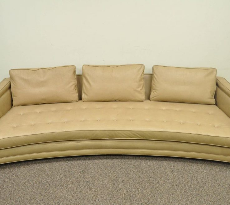 Terrific Curved Modern Sofa Of Long Harvey Probber Button Tufted Leather Mid Century