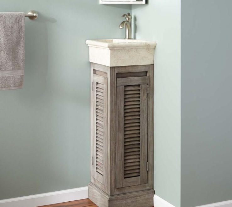 Unique Corner Sink Vanity Of Bathroom: Mid Century Design Of Graywash Teak
