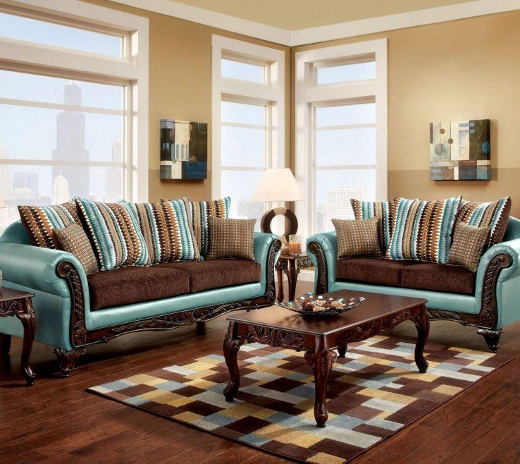 Unique Dark Turquoise Living Room Of Mulligan Brown Fabric Set