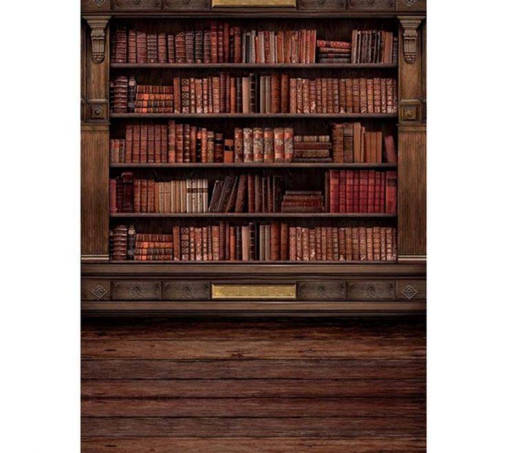Vanity Bookshelves Library Style Of Vintage Wooden Bookshelf Photography Backdrops Digital Printed