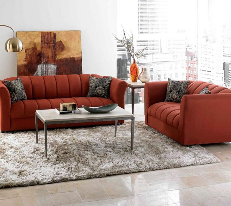 Vanity Brown And Orange Sofa