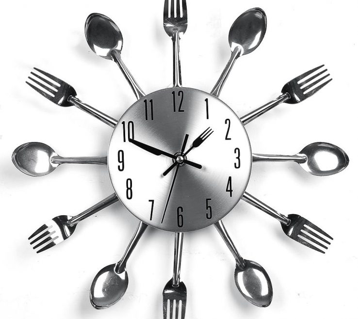 Wall Clocks For Kitchens Of 2018 New Kitchen Clock Sliver Cutlery Fork