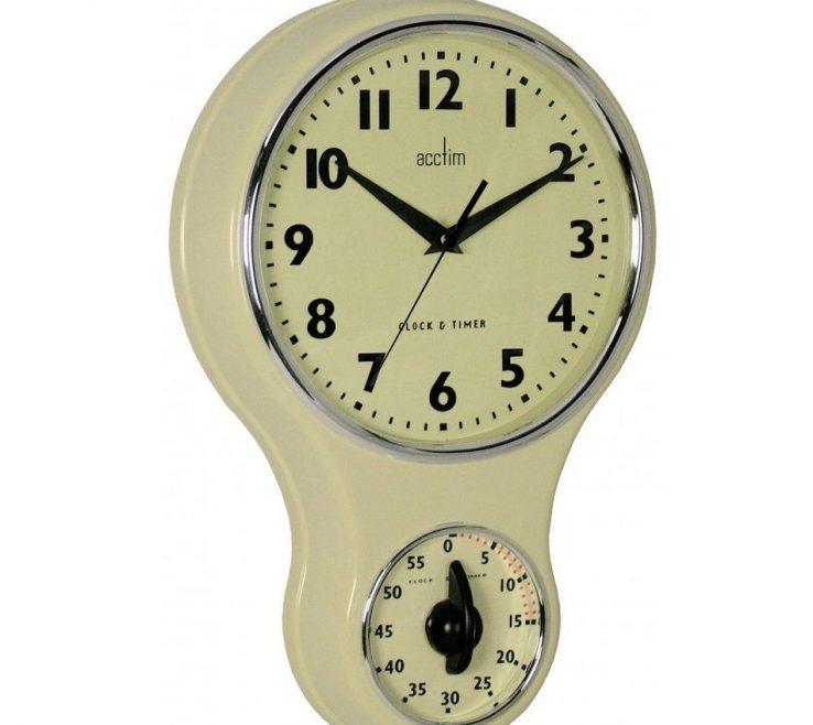 Wall Clocks For Kitchens Of Acctim Vintage Retro Cream Kitchen Clock