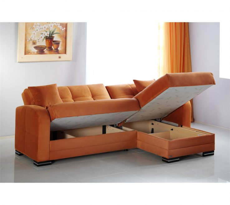 Wonderful Brown And Orange Sofa