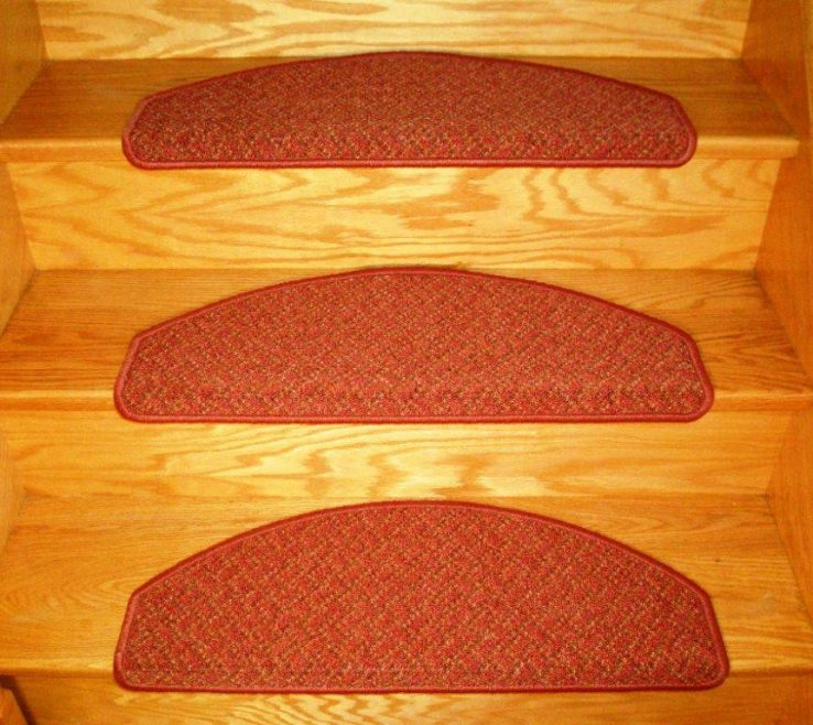 Wonderful Cheap Stair Tread Ideas Of Red Color Carpet Treads