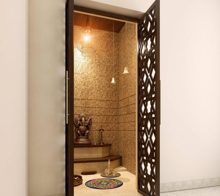 Wonderful Modern Room Doors Of Lattice That Make Your Pooja Look More