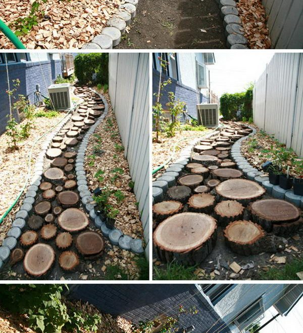 Wood Garden Path Of Recycled Slice Pathway