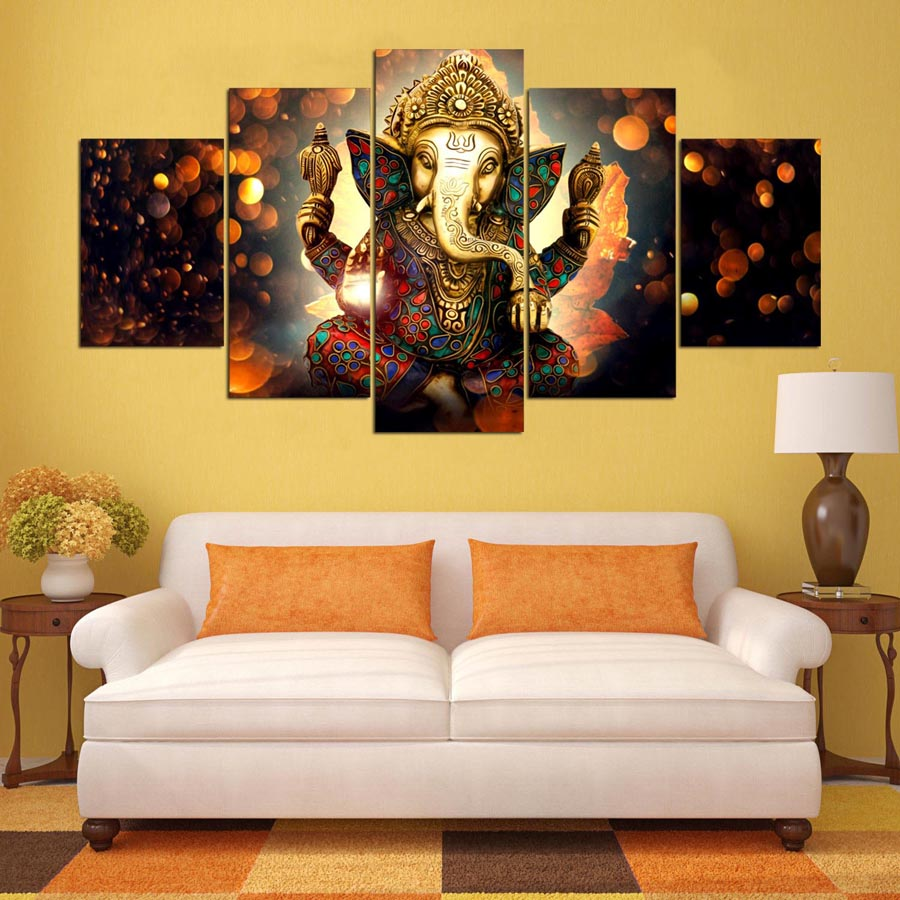 Adorable Wall Art For Living Room Of Canvas Painting Elephant God Style Pictures