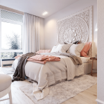 Adorable Wall Decorations For Bedroom Of Pure White Grand Mandala Headboard