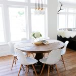 Alluring Eat In Kitchen Table Of A Rustic Round Wood Surrounded By White