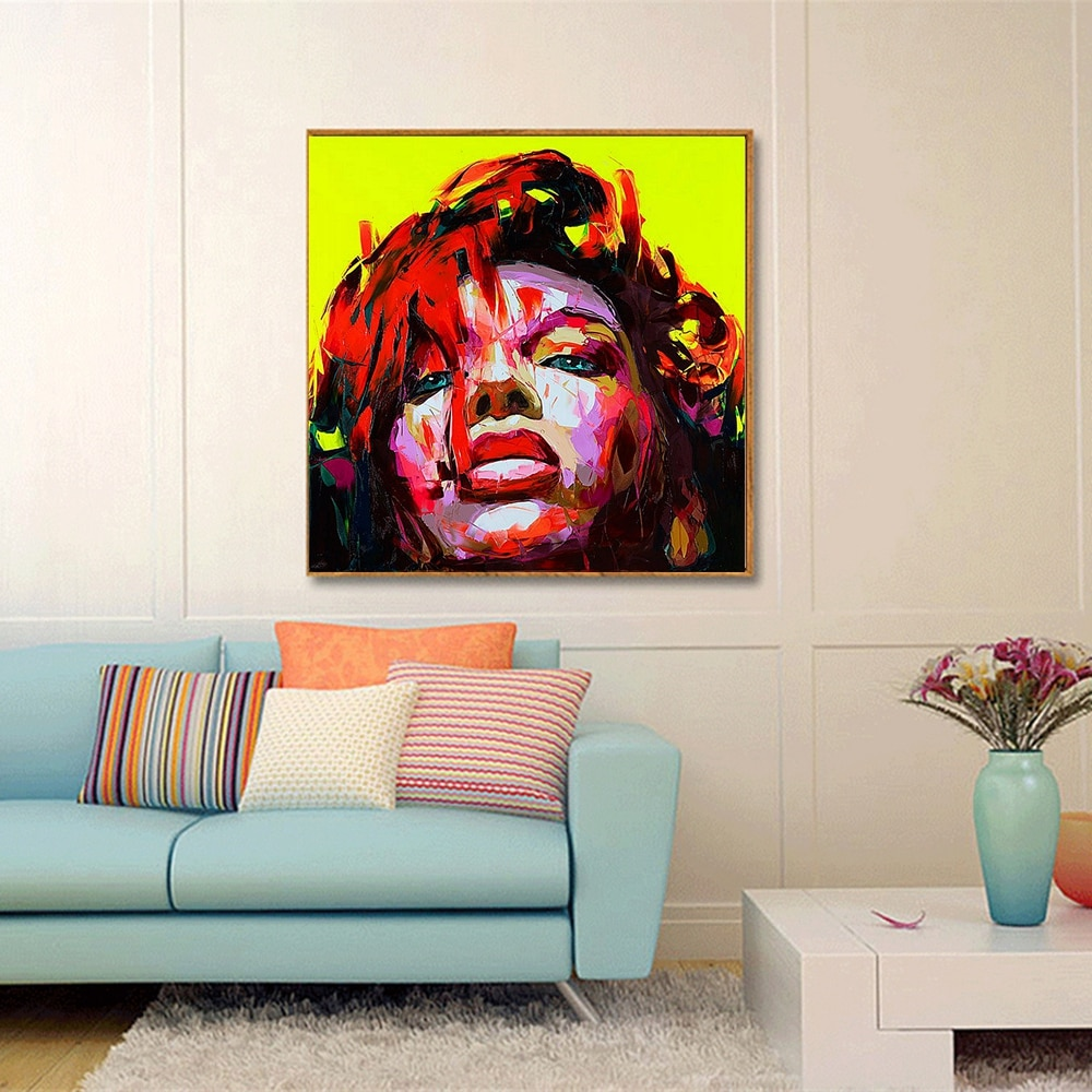 Artwork For Living Room Walls Of Handmade Elegantn Woman Wall Art Canvas Painting