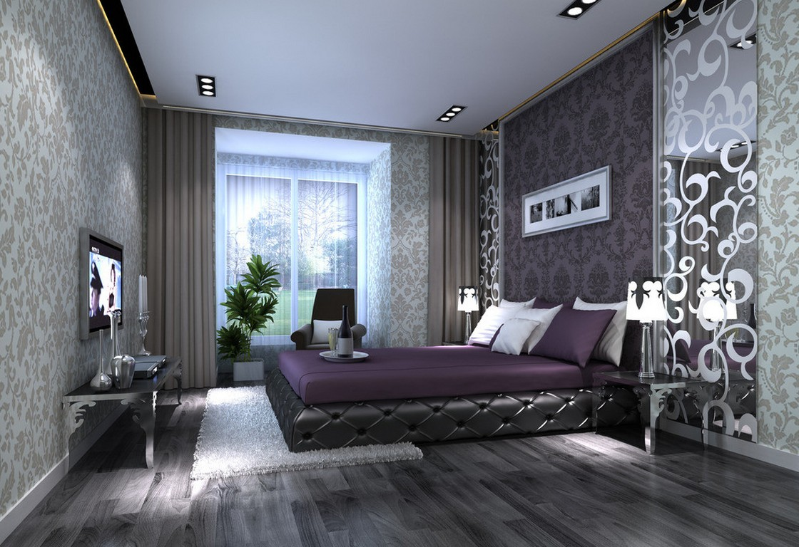 Astonishing Bedroom Decorating Ideas With Gray Walls Of Pattern