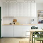 Astonishing Ikea Kitchens Of A White Kitchen With Green Accents Sleek
