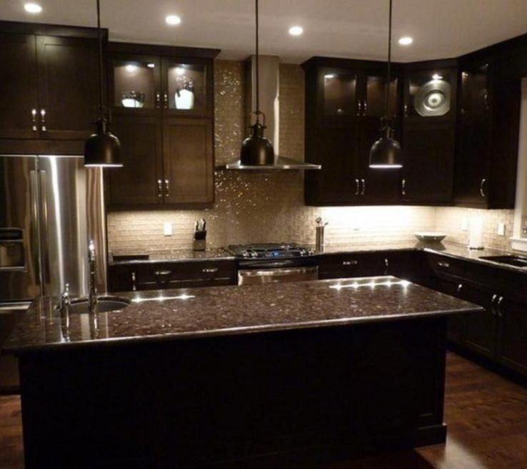 Attractive Dark Kitchen S Of S With Grey Brown Granite And Cream