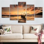Awesome Large Pictures For Living Room Wall Of Piece Sunset Sea View Boat Canvas