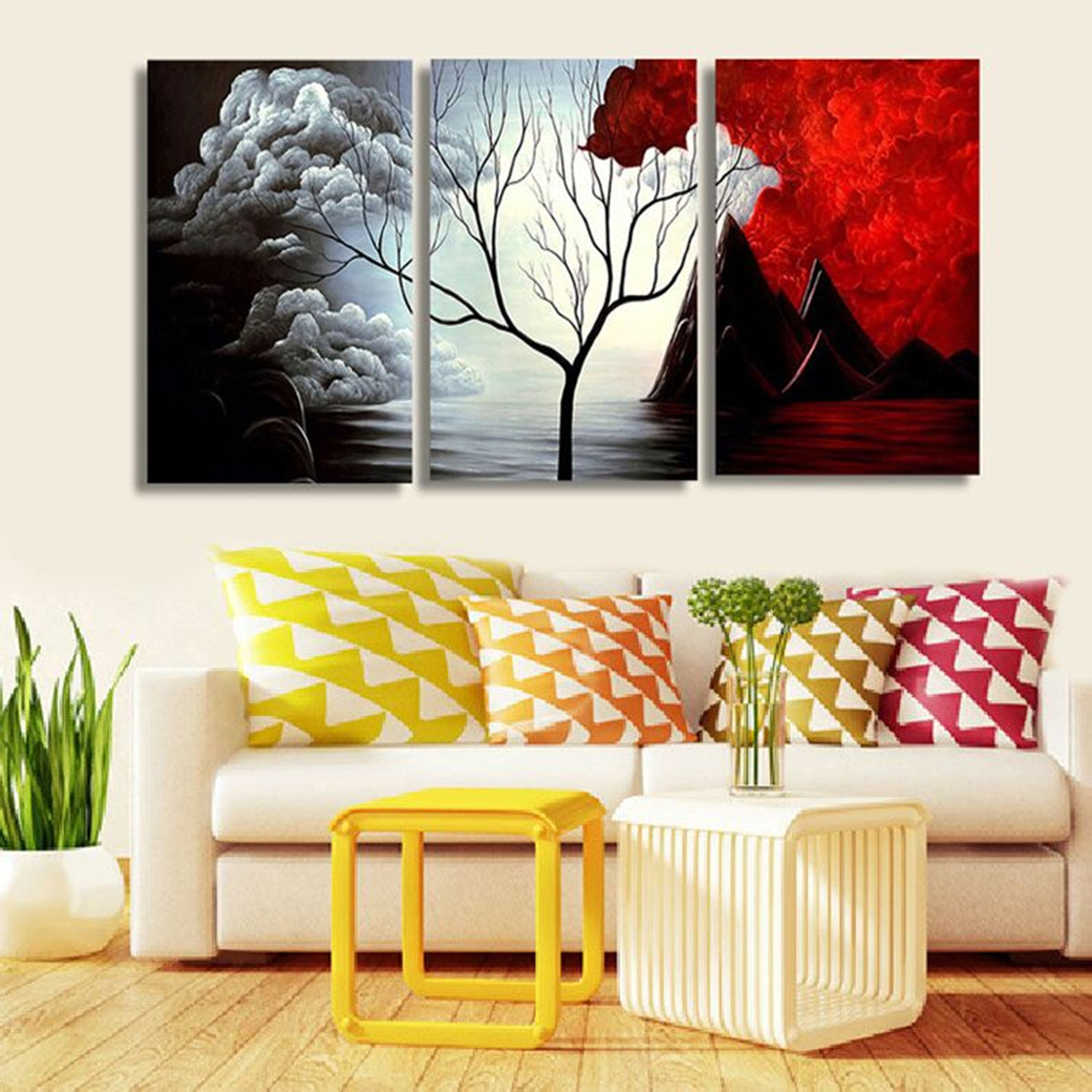 Awesome Living Room Canvas Wall Art Of Pcs Unframed Abstract Landscape Painting Home