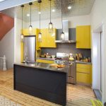 Awesome Small Kitchen Ideas Of Bright Yellows And Metallic Surfaces