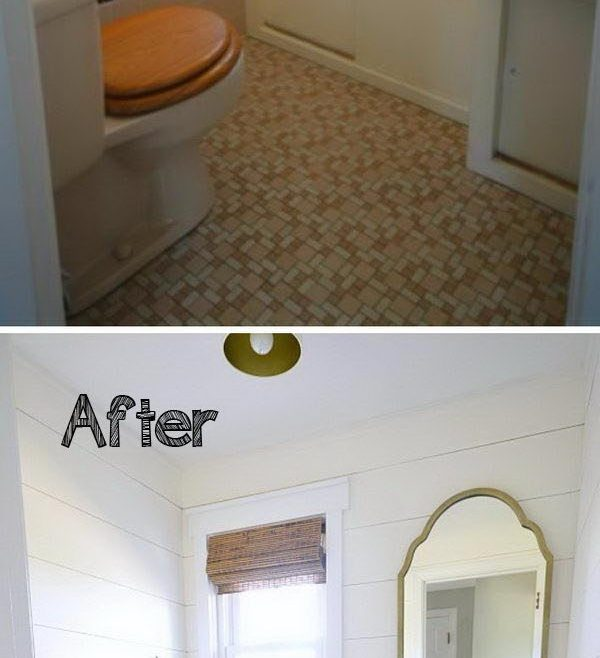 Bathroom Before And After Of Allow The Bold Patterned Floor The Gray