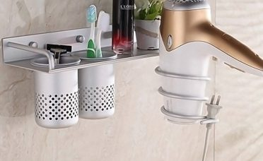 Bathroom Wall Organizer Of Multifunction Hair Dryer Stands Mounted Aluminum Shelf