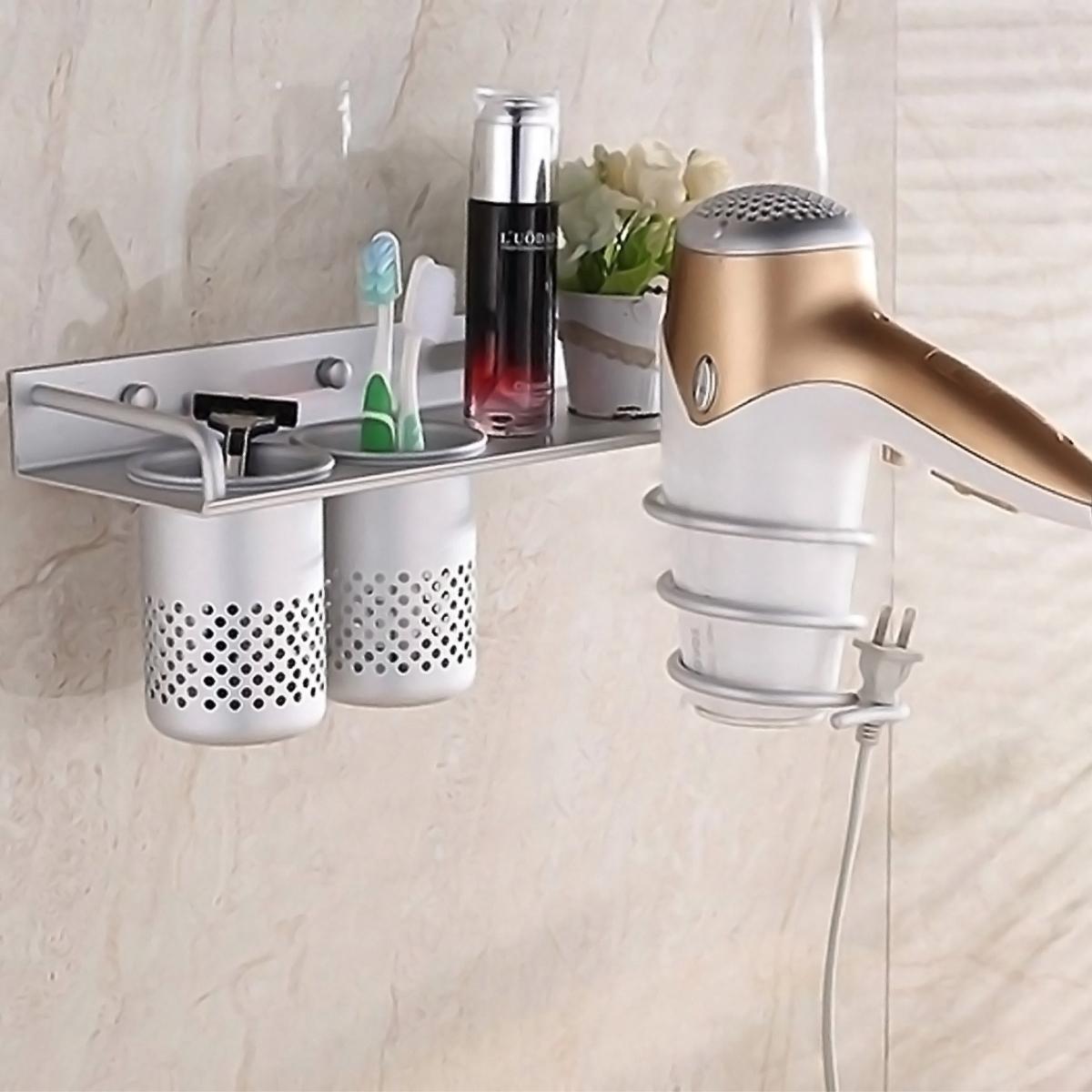 Bathroom Wall Organizer Of Multifunction Hair Dryer Stands Mounted Aluminum Shelf