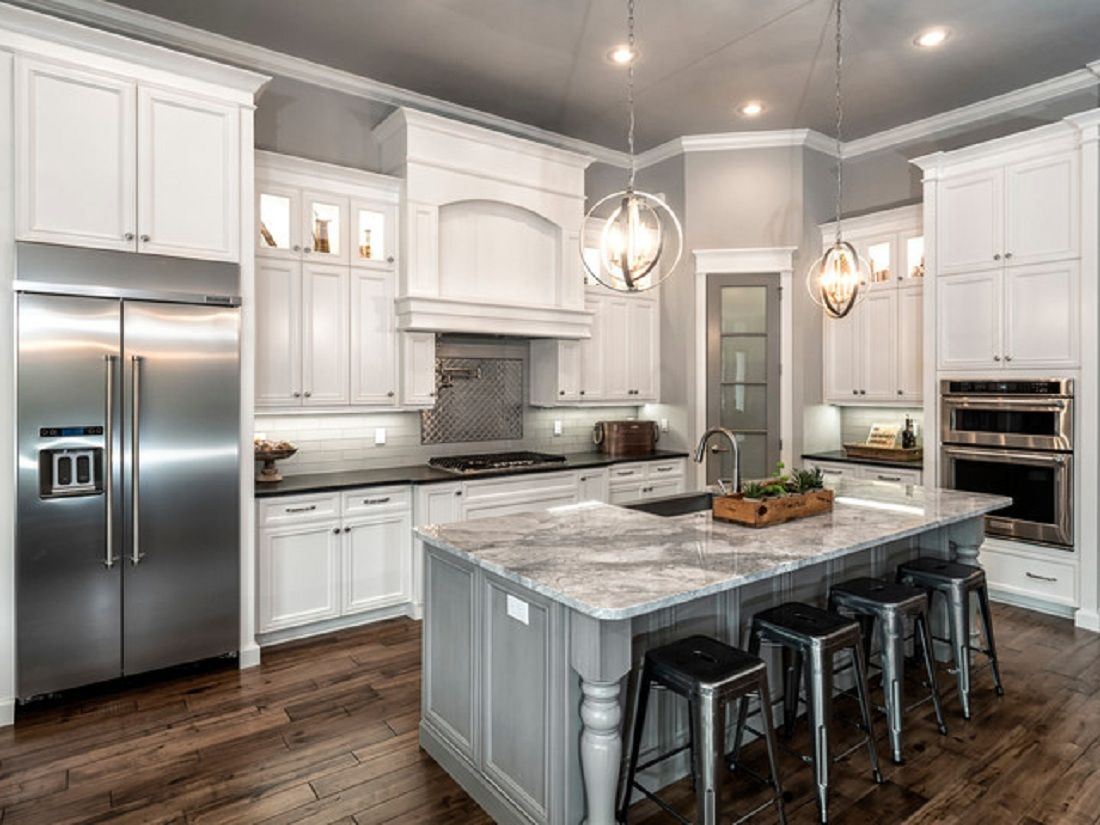 Image of: Beautiful Kitchen Remodels With White S Of Classic L Shaped Remodel And Gray Acnn Decor