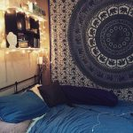 Bedroom Wall Tapestry Of Blue Hippie Floral Mandala Bedspread Bed Cover