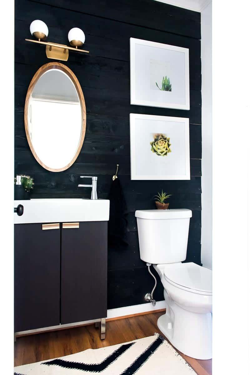 Black Bathroom Walls Of Diy Shiplap Wall Under