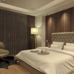Brilliant Bedroom Design Of Quilted Headboard And Rich Textured Fabrics