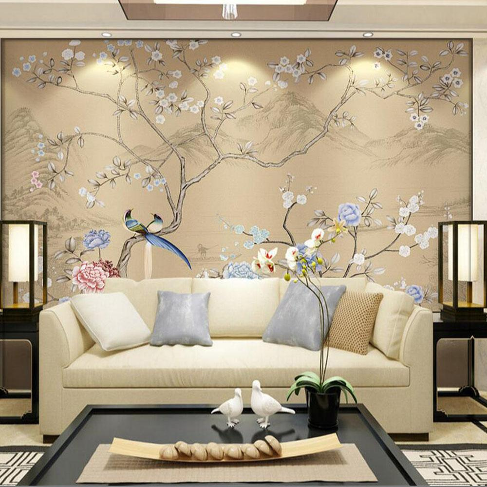 Brilliant Bedroom Wall Murals Of D Flower Birds Wallpaper Mural Decor Papel