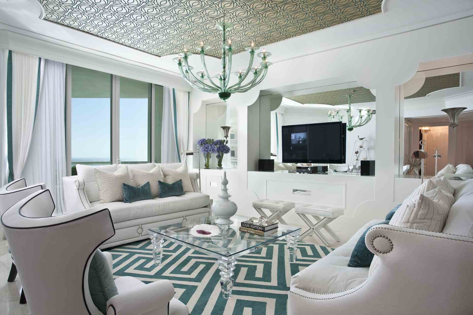 Brilliant Mirrored Walls In Living Rooms Of Imposing Intricate Motif For Room Interior