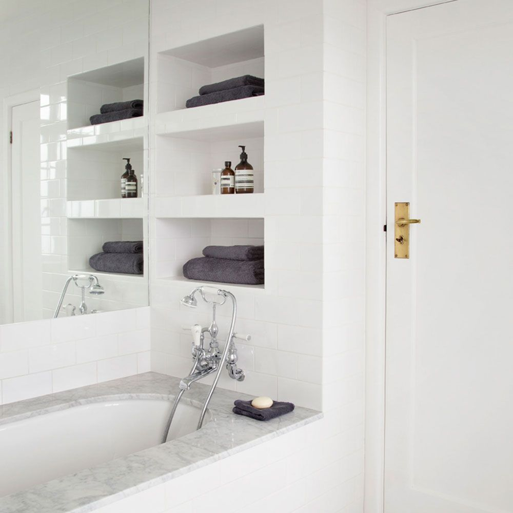 Captivating White Bathroom Wall Shelf Of Image Result For Recessed Shelves For Towels