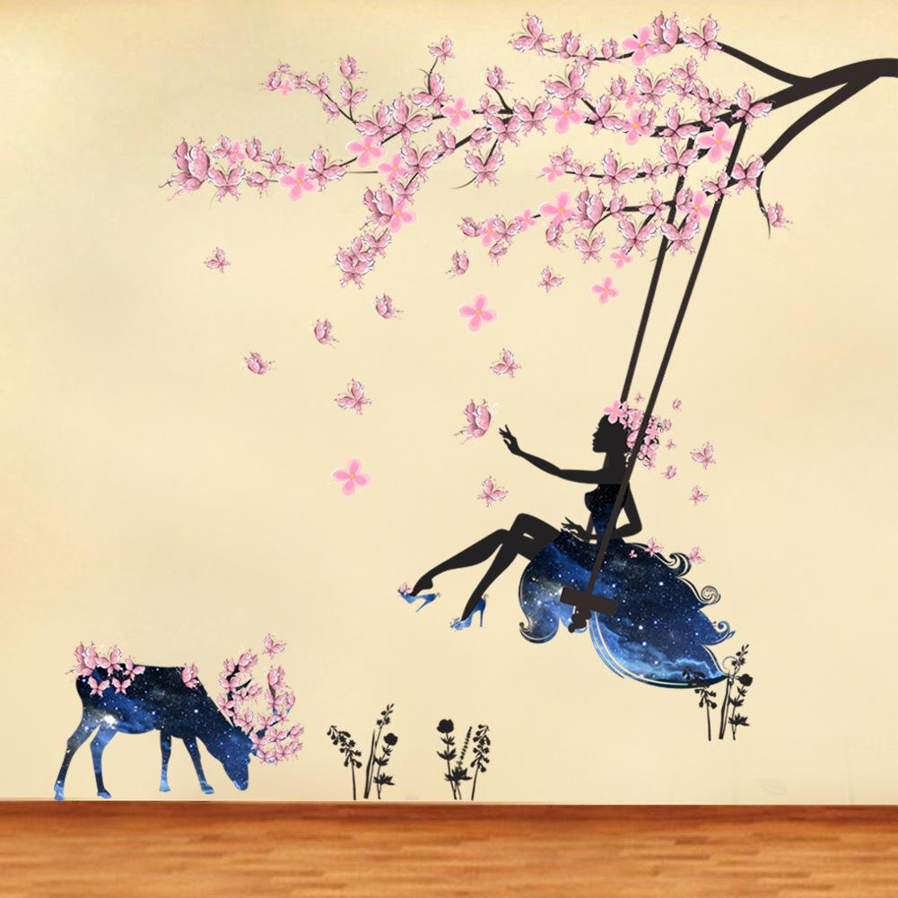 Charming Girls Bedroom Wall Art Of Diy Flower Girl And Plum Blossom Mural