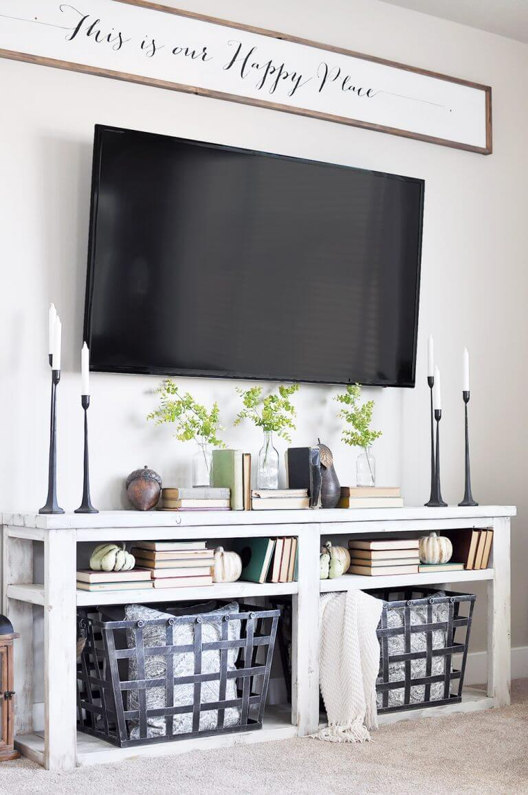 Charming Living Room Wall Decorations Of Scripted Sign Hung Over The Tv Source