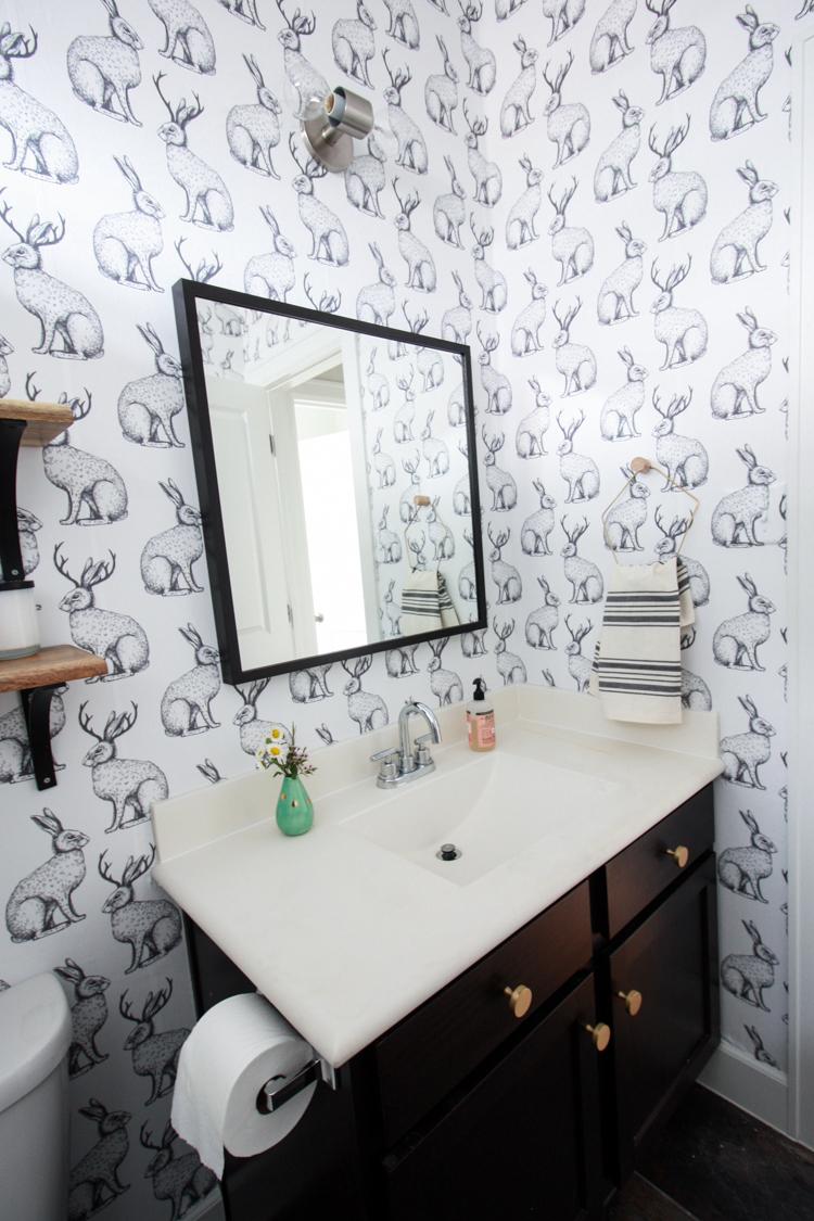 Cool Bathroom Wall Texture Of Jackalope Wallpaper Over Textured Walls One