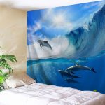 Cool Bedroom Wall Tapestry Of Neutural Surfing Dolphin Decor Hanging