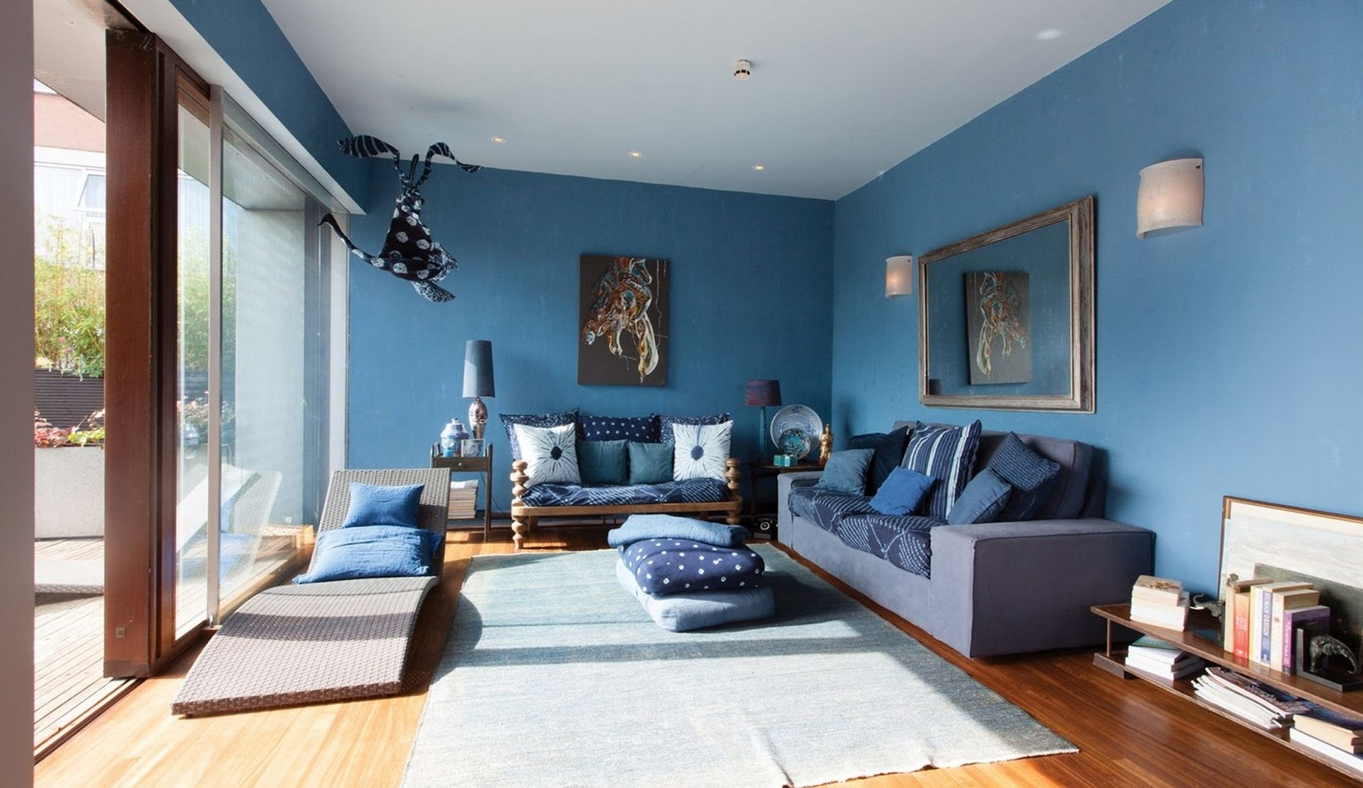 Cool Blue Accent Wall Living Room Of Design Acnn Decor