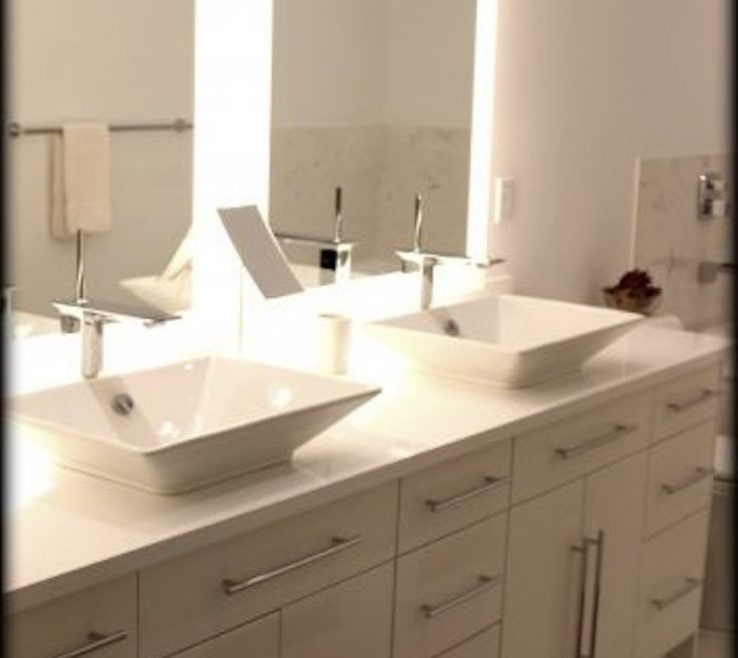 Elegant His And Hers Bathroom Sinks Of Vessel Accented With High Gloss Drawers Doors