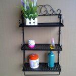 Enchanting Bathroom Wall Shelf Of Shelves Wrought Iron Craft Towel Rack Countryside