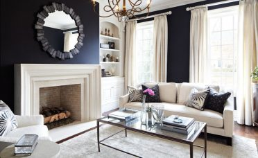 Enchanting Black Wall Living Room Of Interior Cream Palette
