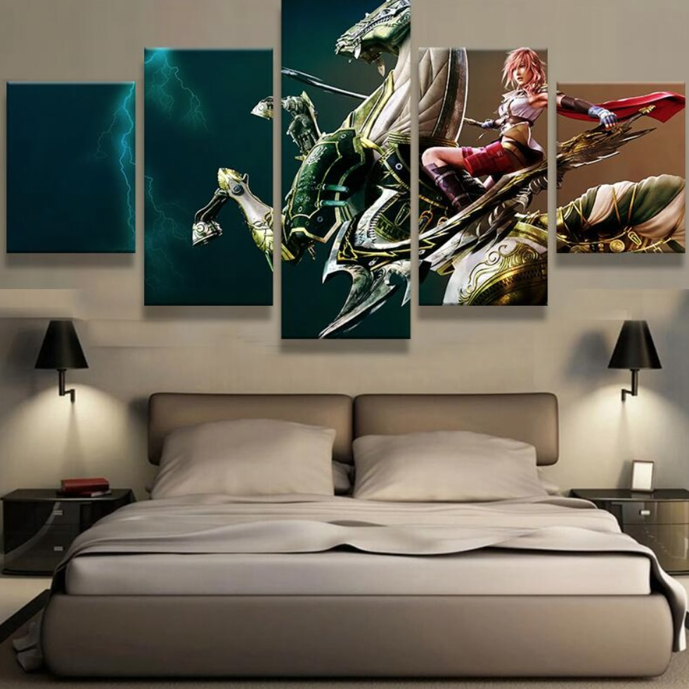 Enchanting Modern Wall Art For Living Room Of Panel Canvas Printed Final Fantasy Painting