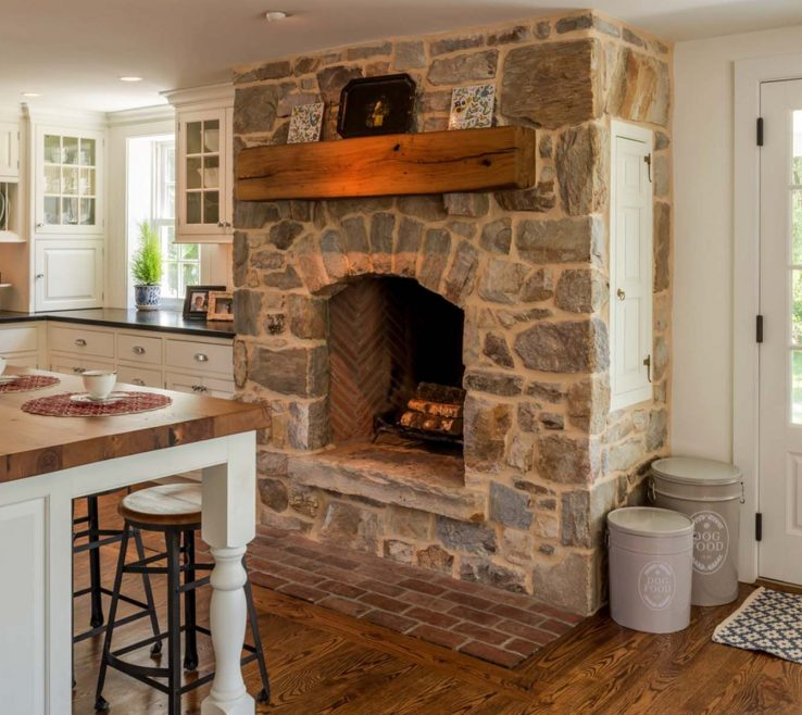 Enthralling Kitchen Fireplace Of A Cozy In A E Kitchen